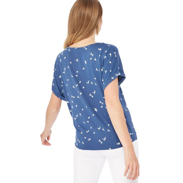Blue ruched The bird front top Collection print p8wPqfvw
