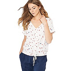 The Collection - White bird print ruched front top