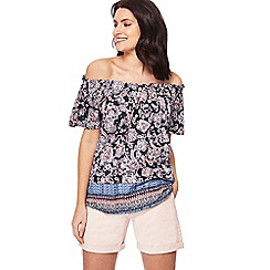 The Collection - Navy paisley print gypsy top