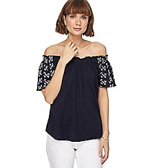 The Collection - Navy broderie sleeve gypsy top