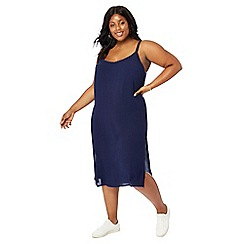 The Collection - Navy V-neck plus size midi length dress