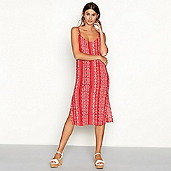 The Collection - Red tile stripe print V-neck midi dress