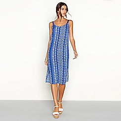 The Collection - Blue tile stripe print V-neck midi dress