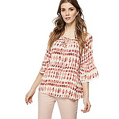 The Collection - Pink diamond print self-tie neck gypsy top