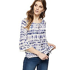 The Collection - Purple diamond print self-tie neck gypsy top