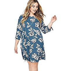 The Collection - Blue floral print knee length plus size dress