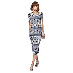 The Collection - Blue tile print midi dress