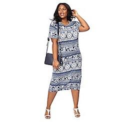 The Collection - Blue tile print plus size midi dress