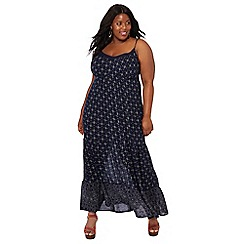The Collection - Navy diamond print tiered V-neck plus size maxi dress