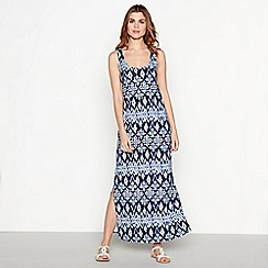 The Collection - Navy Ikat print maxi dress