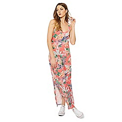 The Collection - Peach tropical floral print full length maxi dress