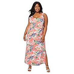 The Collection - Peach tropical floral print full length plus size maxi dress