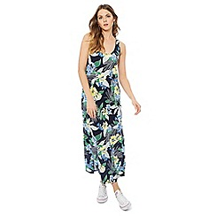 The Collection - Navy tropical floral print full length maxi dress