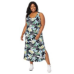 The Collection - Navy tropical floral print full length plus size maxi dress