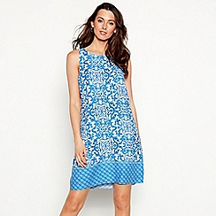 The Collection - Blue tile print round neck mini shift dress