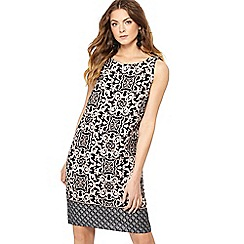 The Collection - Black tile print round neck mini plus size shift dress