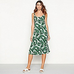 The Collection - Green palm print V-neck midi dress