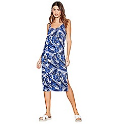 The Collection - Navy leaf print midi dress