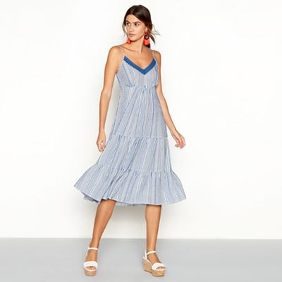 The Collection   Blue Striped Cotton Blend V Neck Midi Dress by The Collection