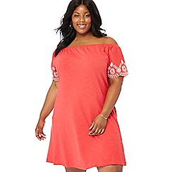 The Collection - Peach floral embroidered cotton Bardot neck short sleeve knee length plus size swing dress