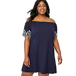 The Collection - Navy blue floral embroidered cotton Bardot neck short sleeve knee length plus size swing dress