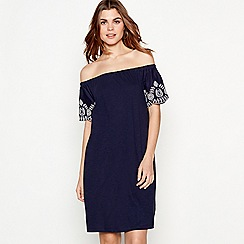 The Collection - Navy blue floral embroidered cotton Bardot neck short sleeve knee length swing dress