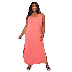 The Collection - Pink scoop neck sleeveless full length plus size dress