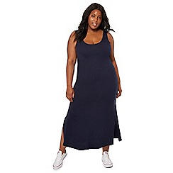 The Collection - Navy scoop neck sleeveless full length plus size dress