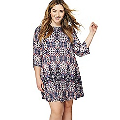 The Collection - Pink tile print jersey plus size mini dress