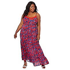 The Collection - Red floral print tiered V-neck plus size maxi dress