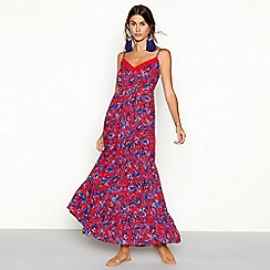 The Collection - Red floral print tiered V-neck maxi dress