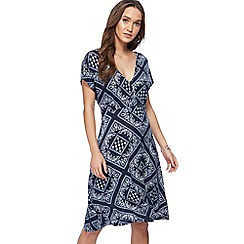 The Collection - Navy tile print jersey V-neck midi wrap dress