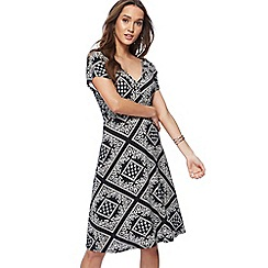 The Collection - Black tile print jersey V-neck midi wrap dress