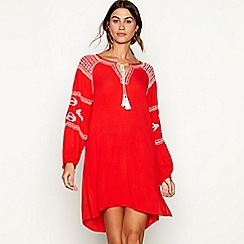 The Collection - Red embroidered V-neck long sleeve mini kaftan dress