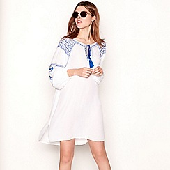 The Collection - White embroidered tie neck long sleeve mini dress