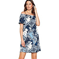 The Collection - Blue paisley print Bardot neck short sleeve mini dress