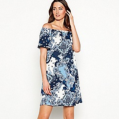 The Collection - Blue paisley print Bardot neck short sleeve plus size mini dress