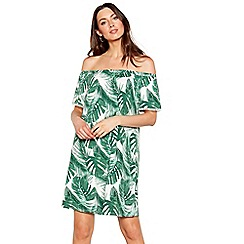 The Collection - Green palm leaf print Bardot neck short sleeve mini dress
