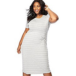 The Collection - Grey striped midi plus size dress