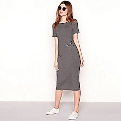 The Collection - Black stripe print jersey round neck short sleeve midi dress