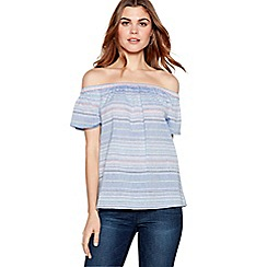 The Collection - Blue embroidered stripe cotton Bardot neck top