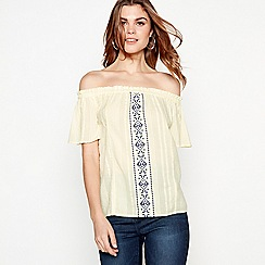 The Collection - Yellow geometric embroidered cotton Bardot neck top