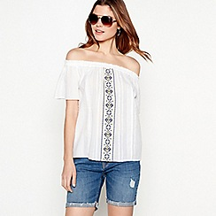 The Collection - White geometric embroidered cotton Bardot neck top