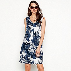 Maine New England - Navy floral print linen blend V-neck mini shift dress