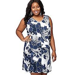 Maine New England - Navy floral print linen blend V-neck plus size mini shift dress