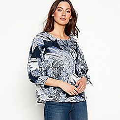 The Collection - Navy floral print linen blend top