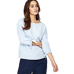 The Collection - Light blue tie sleeve linen blend top