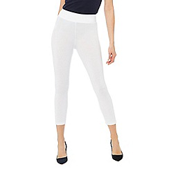 The Collection - White jersey cropped leggings