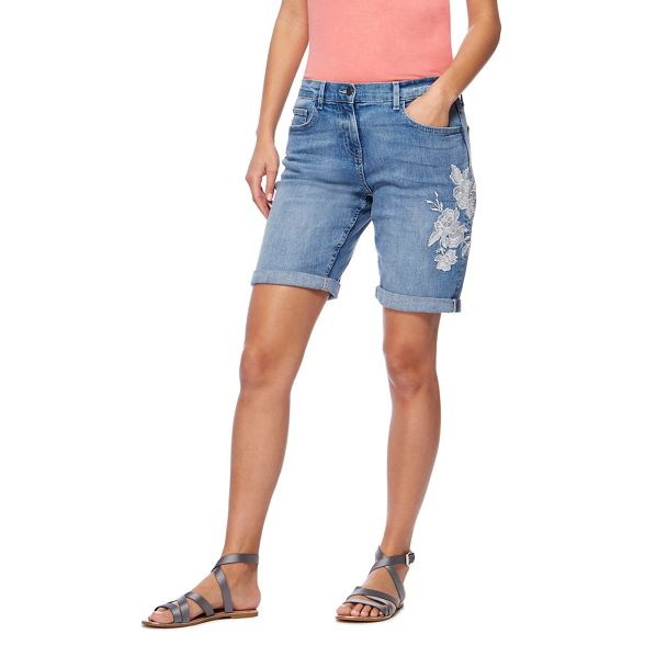 knee denim embroidered length Collection The floral Blue shorts wqXx47