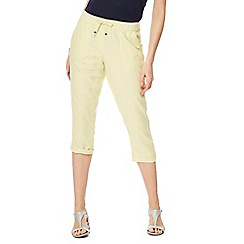 The Collection - Pale yellow linen cropped trousers